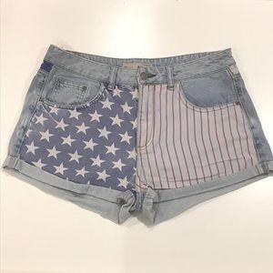 Topshop Moto American Flag Distressed Shorts 32